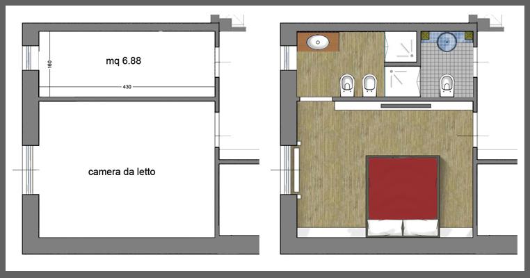 Creare bagno in camera da letto sz85 regardsdefemmes - Progetto bagno 2 mq ...