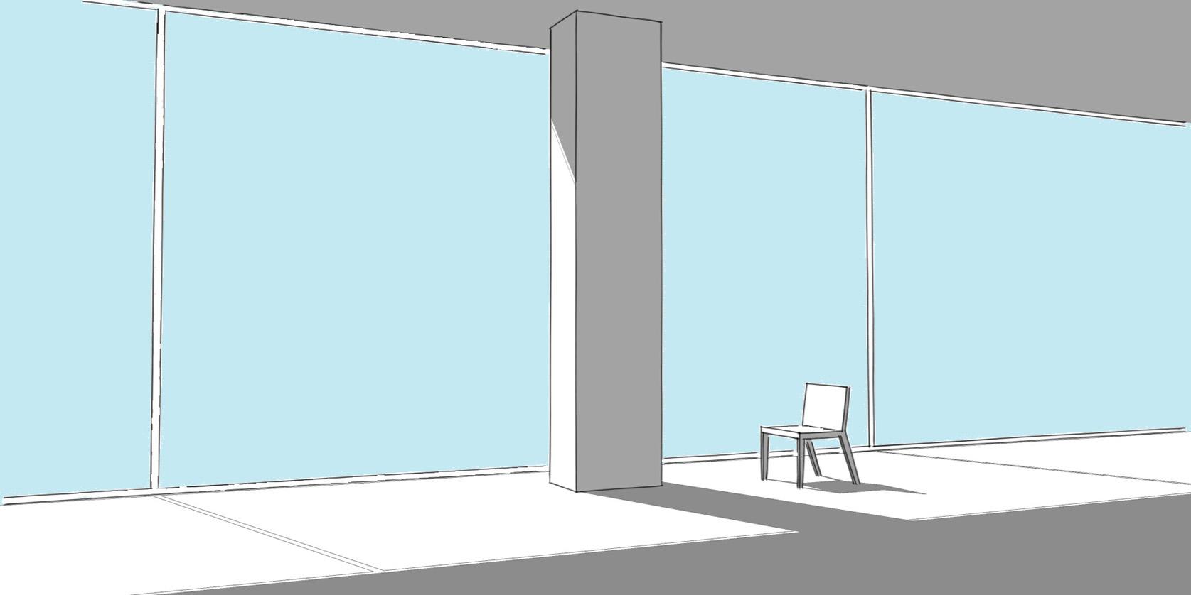 disegno di un pilastro e di una sedia che costeggiano una vetrata in una stanza priva di arredamento