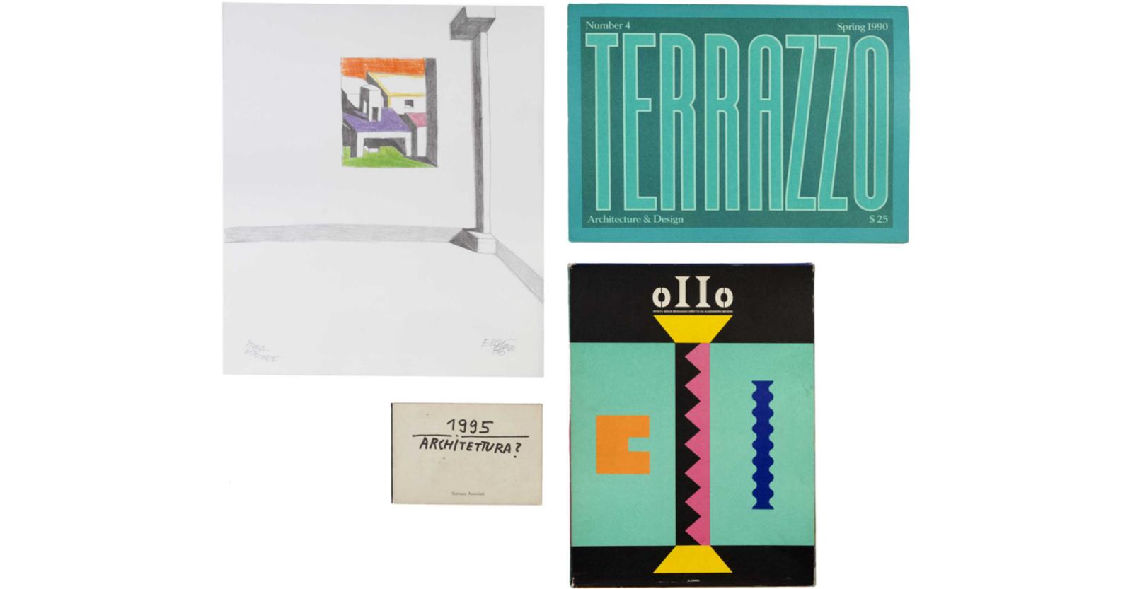 quattro illustrazioni a colori, litografia e libretto di Ettore Sottsass, Alchimia e Terrazzo