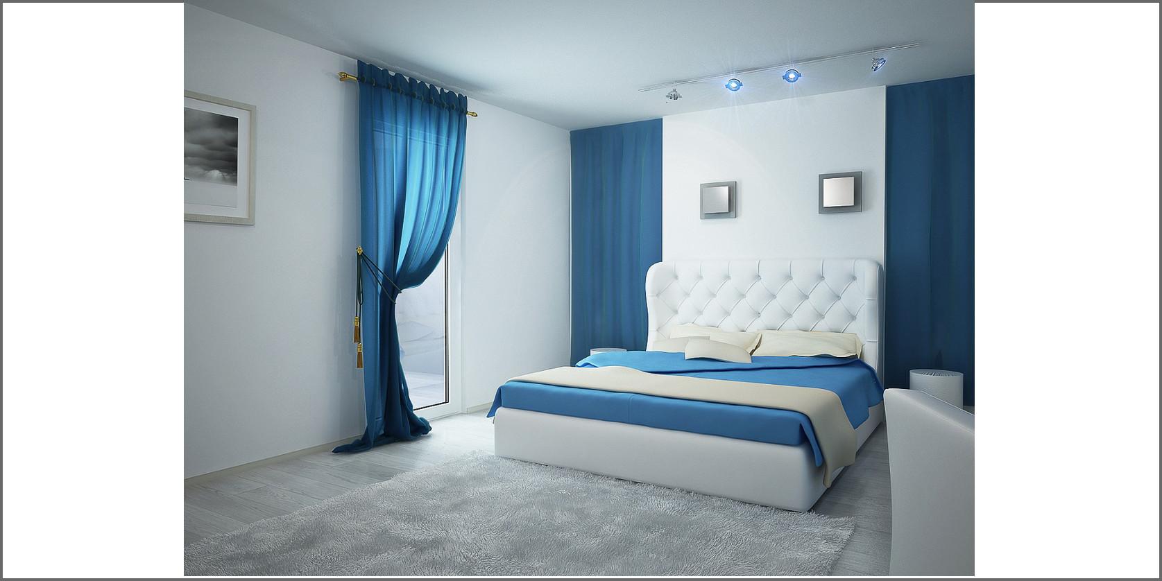 camera da letto con dettagli di colore blu
