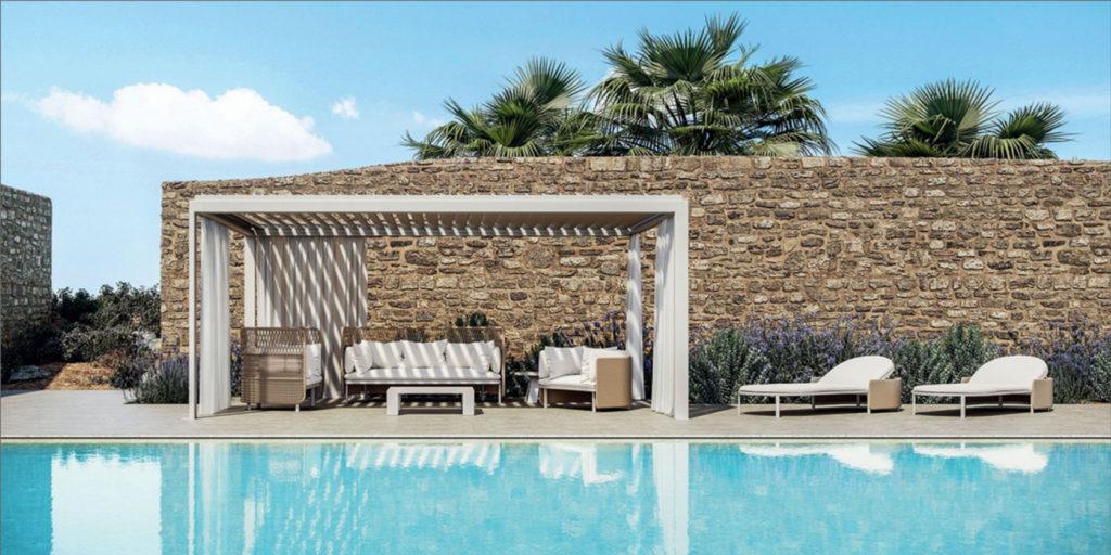 un salotto esterno a bordo piscina
